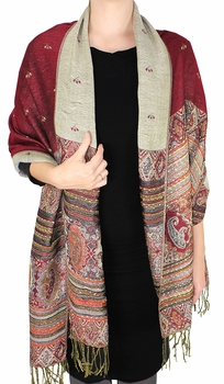 Tribal Design Reversible Pashmina Wrap Shawl Scarf (Maroon)