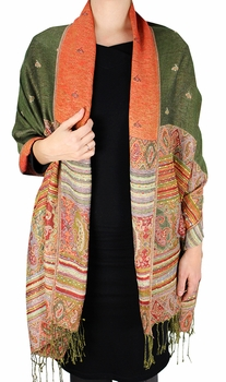 Tribal Design Reversible Pashmina Wrap Shawl Scarf (Olive)