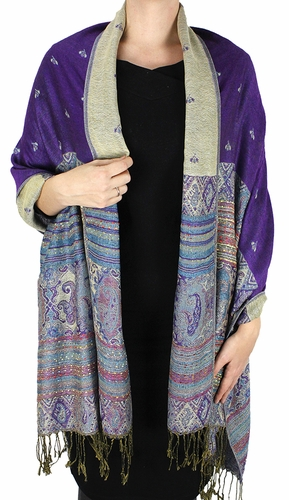 Tribal Design Reversible Pashmina Wrap Shawl Scarf (Purple)