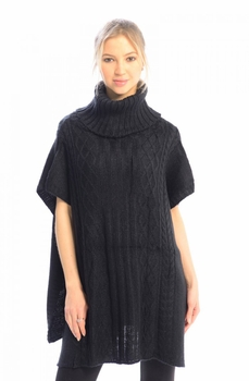 Turtleneck Cable Knit Button Sweater Front Pockets Wrap Poncho (Black)