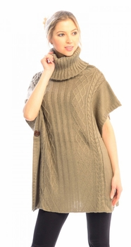 Turtleneck Cable Knit Button Sweater Front Pockets Wrap Poncho (Tan)