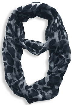 Two Tone Animal Print Infinity Loop Scarf (Blue)