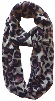 Two Tone Animal Print Infinity Loop Scarf (Purple)