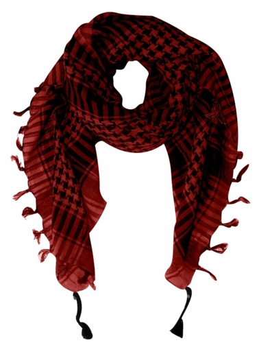 Very Soft Unisex Shemagh Houndstooth Scarf (Red)