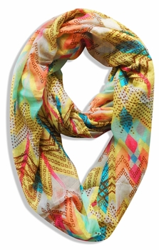 Vibrant Tribal Geometric Lightweight Infinity Loop Scarf (Yellow)