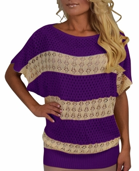 Vintage Bohemian Paradise Crochet Striped Top (Purple)