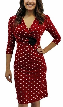 Vintage Inspired 3/4 Polka Dot Dresses (Red)