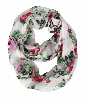 Vintage Inspired Floral Print Infinity Loop (Red/Green)