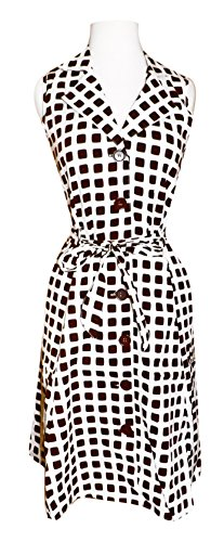 Vintage Inspired Pattern Button Up Shift Dress with Fabric Belt Tie 100% Cotton (Brown Polka)