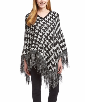 Warm Knit Womens Houndstooth Cape Batwing Fringe Tassels Poncho (Black and White)