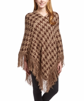 Warm Knit Womens Houndstooth Cape Batwing Fringe Tassels Poncho (Brown and Tan)