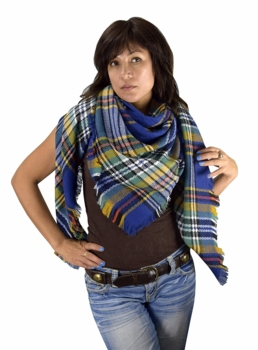 Warm Plaid Woven Oversized Fringe Scarf Blanket Shawl Wrap Poncho (Blue Yellow)