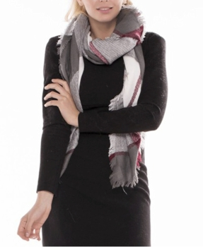 Warm Plaid Woven Oversized Fringe Scarf Blanket Shawl Wrap Poncho (Gray Burgundy)
