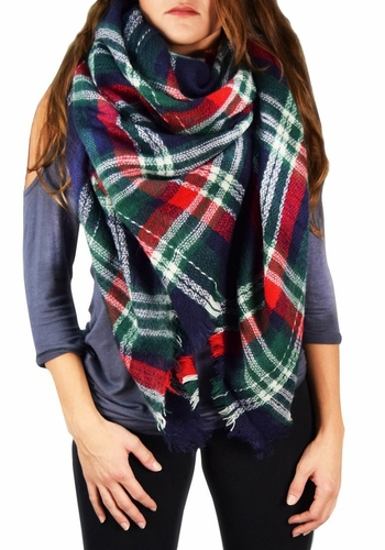 Warm Plaid Woven Oversized Fringe Scarf Blanket Shawl Wrap Poncho (Green/Red)