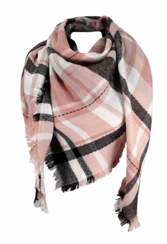 Warm Plaid Woven Oversized Fringe Scarf Blanket Shawl Wrap Poncho (Pink Black)