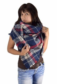 Warm Plaid Woven Oversized Fringe Scarf Blanket Shawl Wrap Poncho (Red Blue)