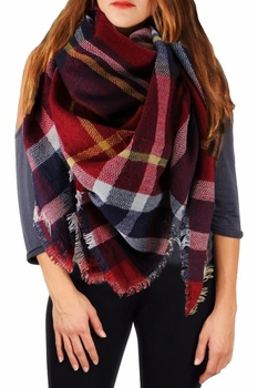 Warm Plaid Woven Oversized Fringe Scarf Blanket Shawl Wrap Poncho (Red/Navy)