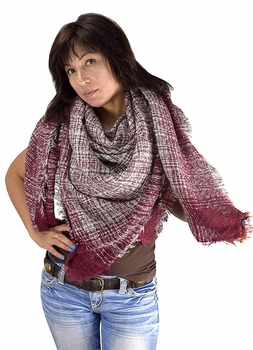 Warm Plaid Woven Oversized Fringe Scarf Blanket Shawl Wrap Poncho (Striped Burgundy)
