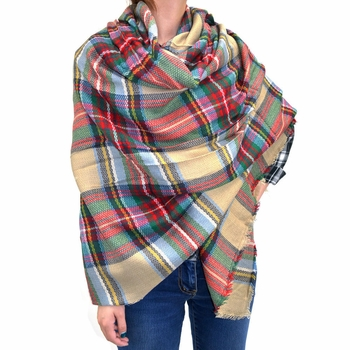 Warm Plaid Woven Oversized Fringe Scarf Blanket Shawl Wrap Poncho (Tan/Red)