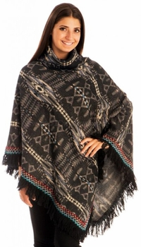Warm Turtleneck Tribal Geometric Knit Fringe Wrap Shawl Poncho (Black)