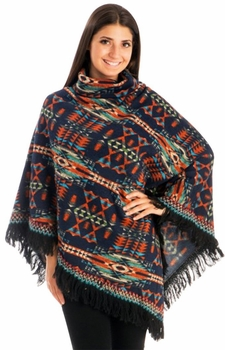 Warm Turtleneck Tribal Geometric Knit Fringe Wrap Shawl Poncho (Navy)
