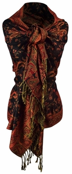 Sophisticated Reversible Paisley Floral Shawl (Red and Black)