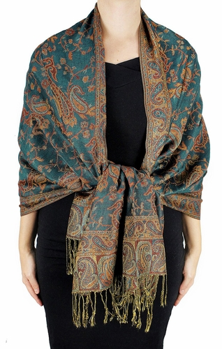 Sophisticated Reversible Paisley Floral Shawl (Green/Gold)