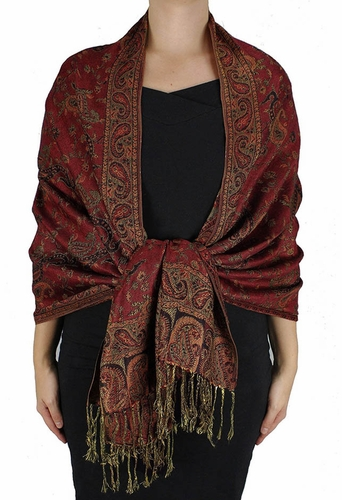 Sophisticated Reversible Paisley Floral Shawl (Maroon)