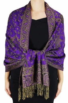 Sophisticated Reversible Paisley Floral Shawl (Purple)