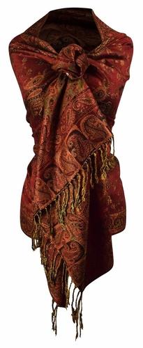 Sophisticated Reversible Paisley Floral Shawl (Rust)