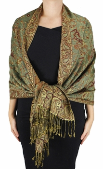 Sophisticated Reversible Paisley Floral Shawl (Sage)