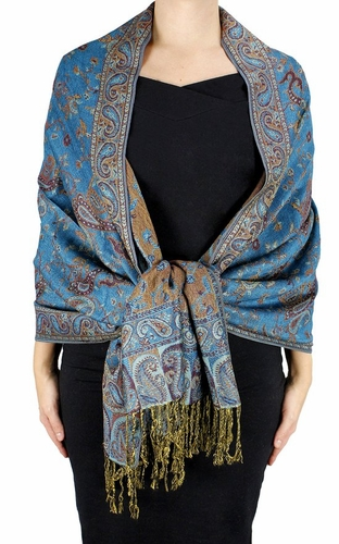 Sophisticated Reversible Paisley Floral Shawl (Teal)