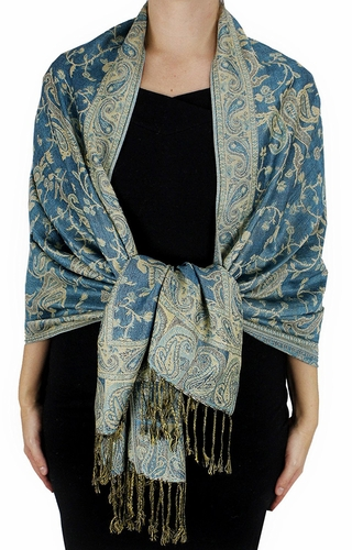 Sophisticated Reversible Paisley Floral Shawl (Turquoise)