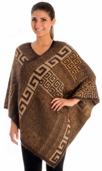 Western Extra Soft Fuzzy Tribal Aztec Batwing Shawl Wrap Poncho (Brown)