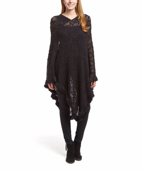 Women�s Crochet Light Knit Fall Fringe Tassel Shawl Wrap Poncho (Black)