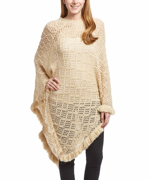 Women�s Crochet Light Knit Fall Fringe Tassel Shawl Wrap Poncho (Cream)