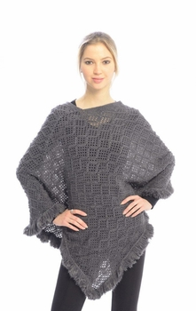 Women�s Crochet Light Knit Fall Fringe Tassel Shawl Wrap Poncho (Grey)