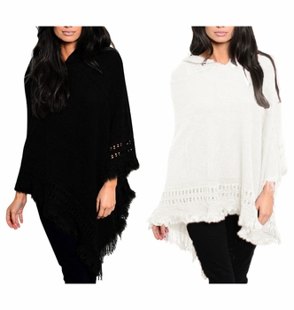 Women�s Snug and Warm Crochet Hooded Fringe Wrap Shawl Poncho (Black and Cream)