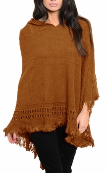 Women�s Snug and Warm Crochet Hooded Fringe Wrap Shawl Poncho (Brown)