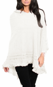 Women�s Snug and Warm Crochet Hooded Fringe Wrap Shawl Poncho (Cream)