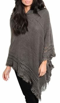 Women�s Snug and Warm Crochet Hooded Fringe Wrap Shawl Poncho (Grey)