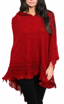 Women�s Snug and Warm Crochet Hooded Fringe Wrap Shawl Poncho (Red)