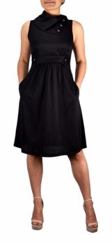 Fit & Flare Womens Casual Sleeveless Fold Over Collar Swing Black Vintage Dress