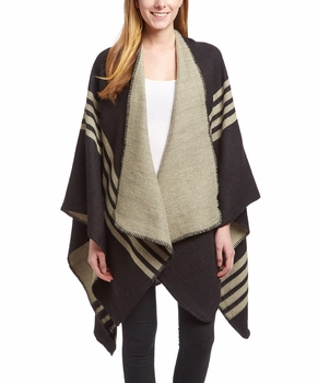Womens Thick Warm Checkered Striped Poncho Blanket Wrap Shawl (Black)