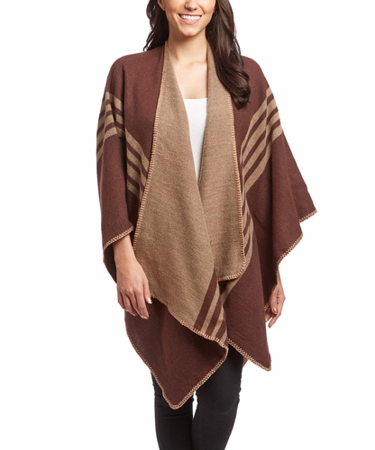 Womens Thick Warm Checkered Striped Poncho Blanket Wrap Shawl (Brown)