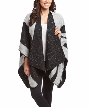 Womens Thick Warm Geometric Striped Poncho Blanket Wrap Shawl (Black)