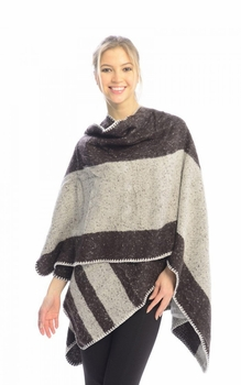 Womens Thick Warm Geometric Striped Poncho Blanket Wrap Shawl (Brown)