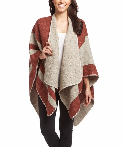 Womens Thick Warm Geometric Striped Poncho Blanket Wrap Shawl (Wine)
