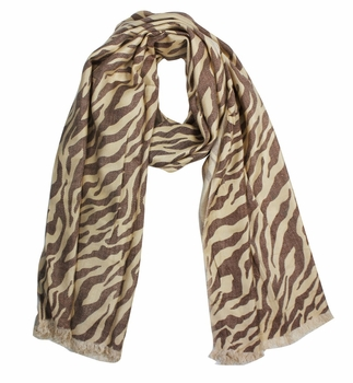Zebra Striped Pashmina Shawls Eyelash Fringe  (Brown)