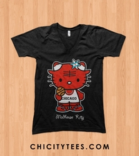 """Madhouse Kitty"" 2.0 Ladies Ringspun Cotton V Neck T-shirt"
